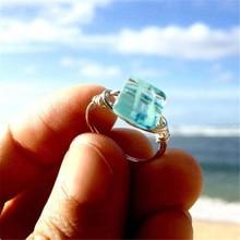 Modyle New Fashion Punk Vintage Jewelry Silver Color Big Square Blue Crystal Wedding
