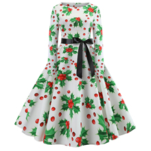 O-Neck Big Swing Vintage Print Dress For Women 2019 Autumn New Christmas Dresses Long Sleeve Elegant Fashion Vestidos S-2XL