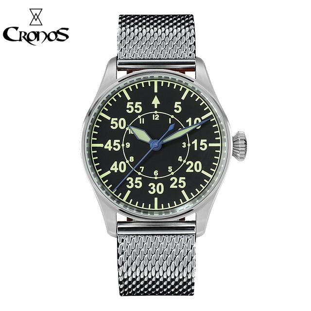 Cronos機械式パイロットfliegerメンズ腕時計ステンレス鋼スケルトンバック防水ブルー手スーパー発光メッシュバンド