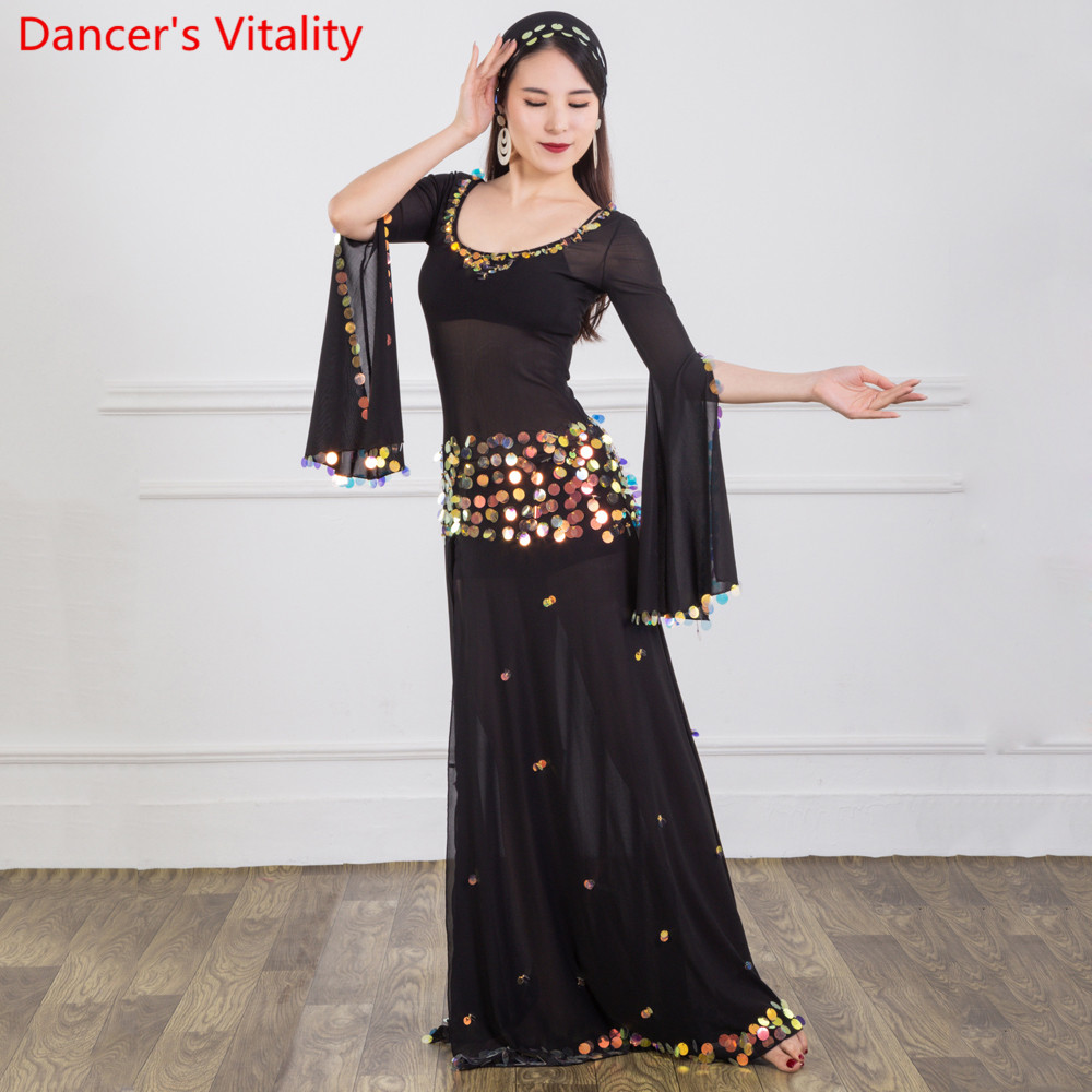 Belly Dance Practice Outfits Winter Women New Split Sleeve Sparkling Sequin Dress Oriental Indian Dancers Stage Performance Set