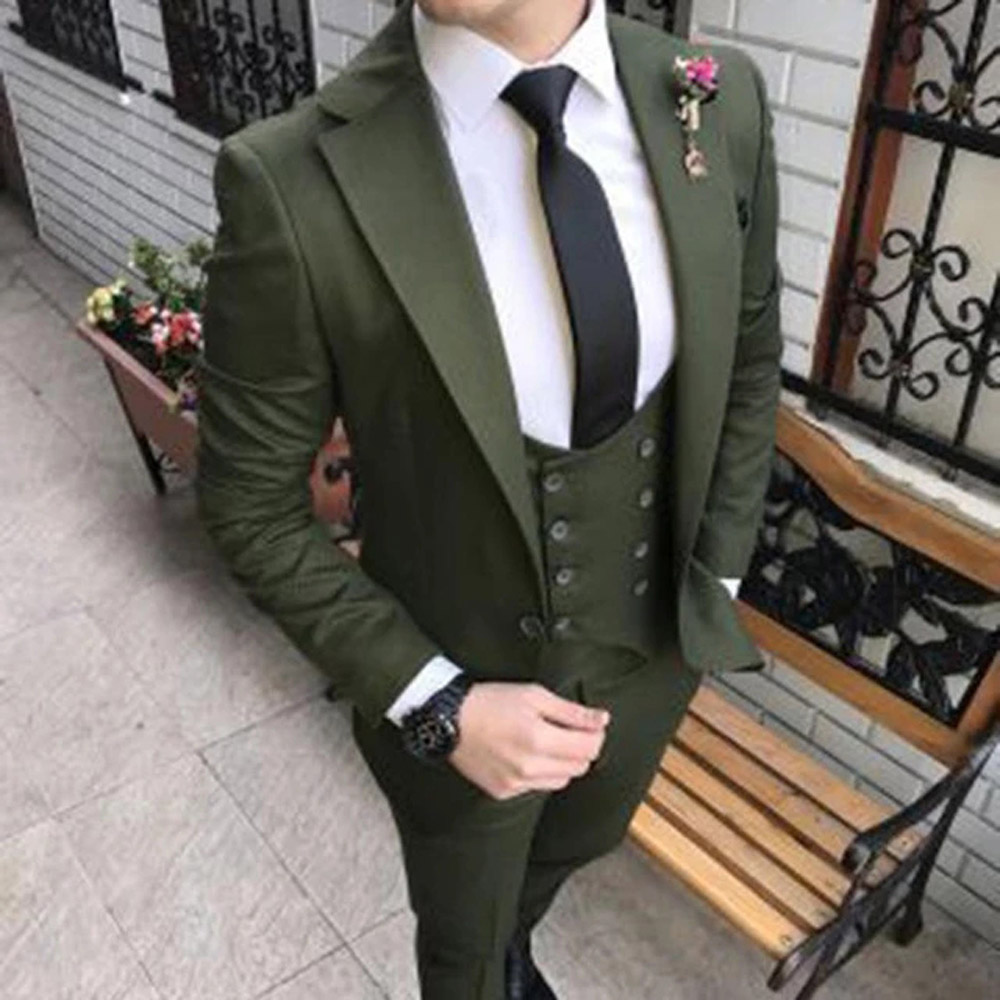 Dark Green North Lapel Wedding Suit for Groom Costume Three Piece Jacket Double Breasted Waistcoat Pants Custom Blazer