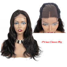 4×4 Lace Closure Wig Body Wave Human Hair Wigs Middle Part Human Wig For Black Women Peruvian Non Remy Lace Wigs цена 2017