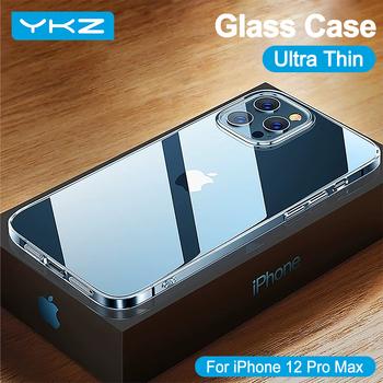 YKZ luksusowe szklane etui na iPhone 12 Pro Max etui Ultra cienka przezroczysta pełna pokrywa dla iPhone 11 XS XR X 7 8 SE Mini miękka krawędź tanie i dobre opinie APPLE CN (pochodzenie) Częściowo przysłonięte etui Dual-layer Scratch proof Explosion proof Zwykły przezroczyste
