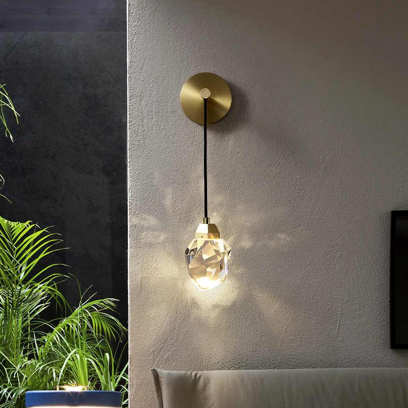 Prisma de cristal moderna lâmpada parede alta transmissão luz led sala jantar quarto cabeceira luz interior casa decoração iluminação