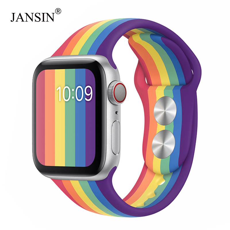 Pride Edition Silicone Strap for <font><b>Apple</b></font> <font><b>Watch</b></font> Band <font><b>42mm</b></font> 38mm 44mm 40mm bracelet <font><b>Correa</b></font> iwatch band series 5 4 <font><b>3</b></font> 2 1 accessories image