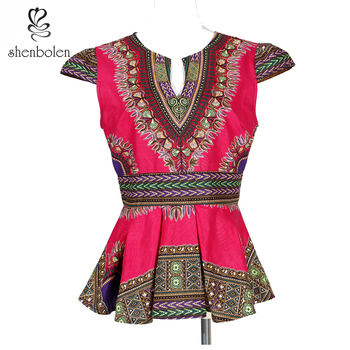 African clothes for women cotton dashiki clothes cotton material clothes african traditional print Dashiki top for women 2020 african dashiki design clothes for lady print appliques with two pockets spring