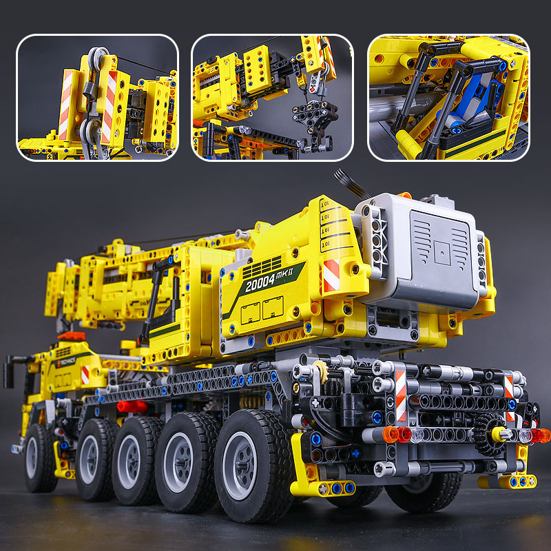 <font><b>legoinglys</b></font> 20004 <font><b>Technic</b></font> series Motor Power Mobile Crane Mk II Car Model Building Kits Blocks Bricks Compatible With <font><b>42009</b></font> gifts image