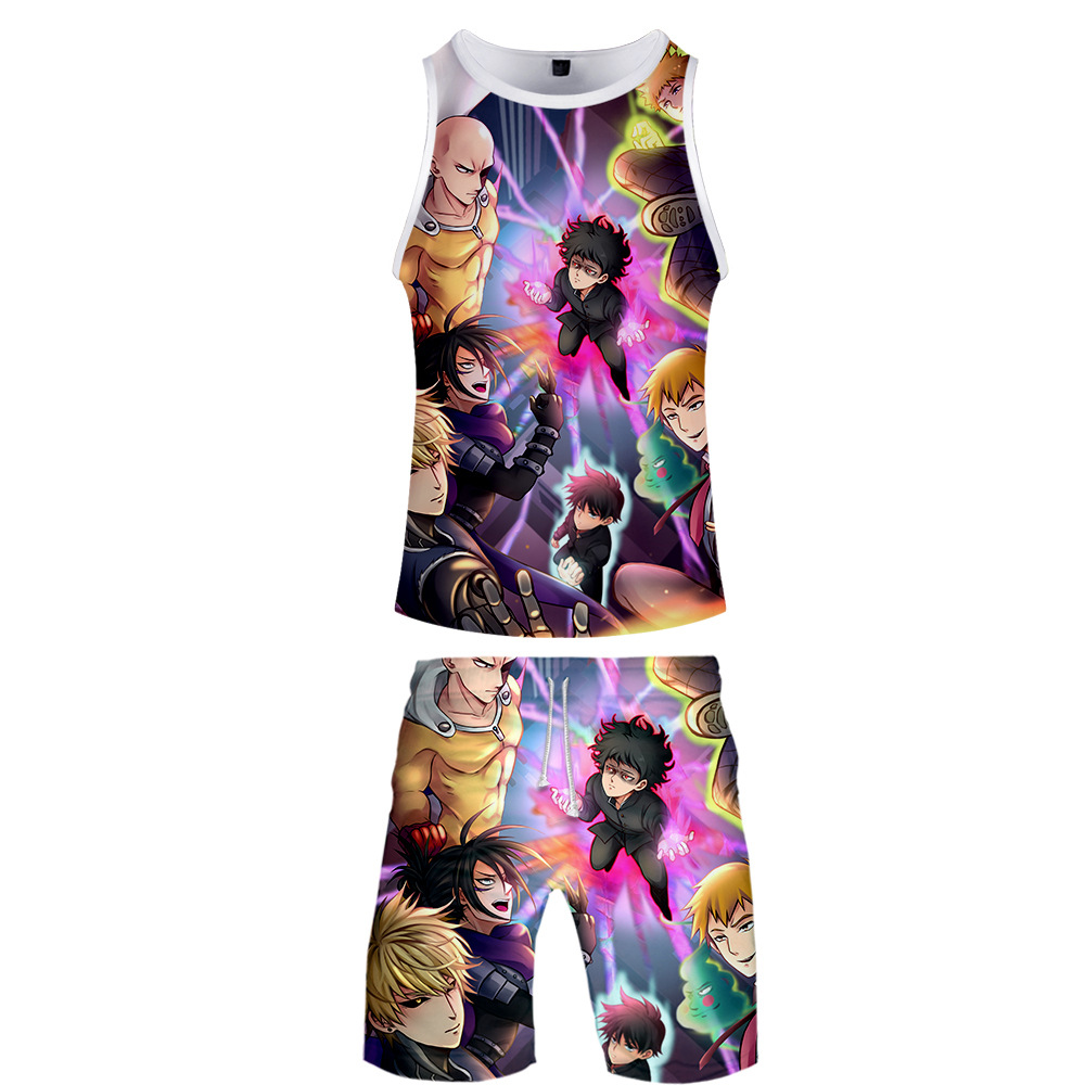 Japan Anime Mob Psycho 100 Psionic One Hundred Percent Daily Life Casual 3D Vest + Beach Shorts