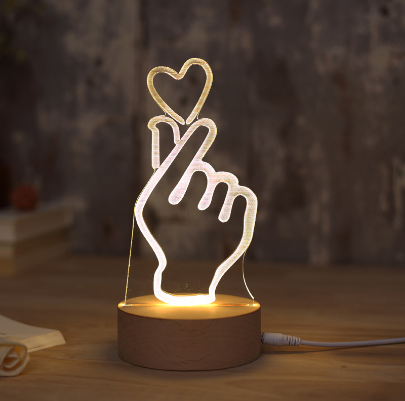 Manufacturers Direct Selling Creative LED Desk Lamp Finger Heart Bedside Lamp Acrylic Bedroom 3D Night Lamp Holiday Gift