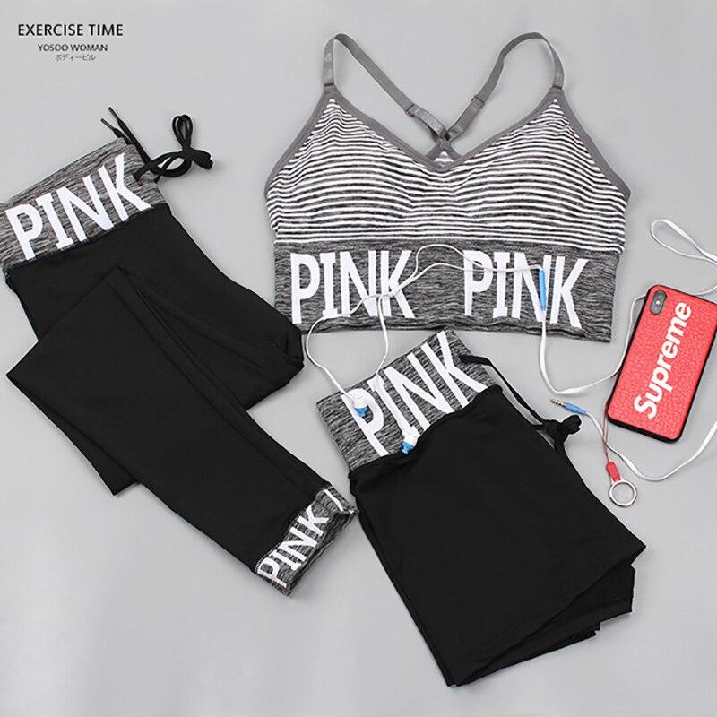 PINK Yoga Set Women Fitness Clothing Sportswear Woman Gym Leggings Padded Push-up Strappy Sports Bra 2/3 Pcs Sports Suits