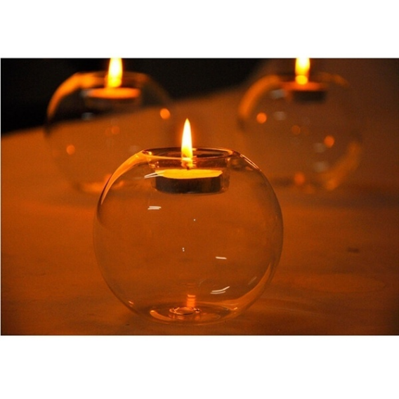 Europe style round hollow glass candle holder wedding candlestick fine transparent crystal glass candlestick dining home decor 3