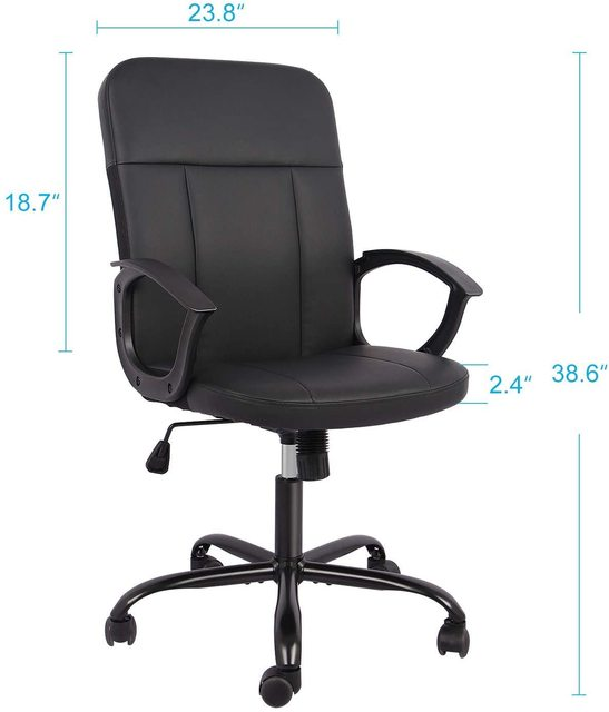 Office Chair, Mid Back Leather Desk Chair, Computer Swivel Office Task Chair, Ergonomic Executive Chair with Armrests 4