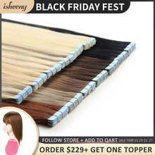 "Isheeny Human Hair Tape Extensions European Natural Seamless Skin Weft 12"" 22"" Black Brown Blonde 100% Virgin Remy Hair 20 pcs"