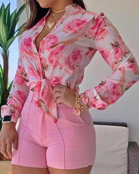2020 Women Casual Autumn Chiffon Blouse Floral Print Long Sleeve Drawstring Hem Loose Blouse Stylish Casual Spring Shirts Female stylish long sleeve self tie denim blouse for women