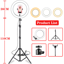 10 Inch Led Ring Light Live Broadcast Photography Ringlight Lamp Hight Light with 110CM Tripod Stand for Photo Youtube Studio