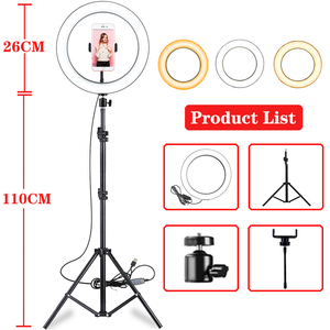 Image 1 - 10 Inch Led Ring Light Live Broadcast Photography Ringlight Lamp Hight Light with 110CM Tripod Stand for Photo Youtube Studio