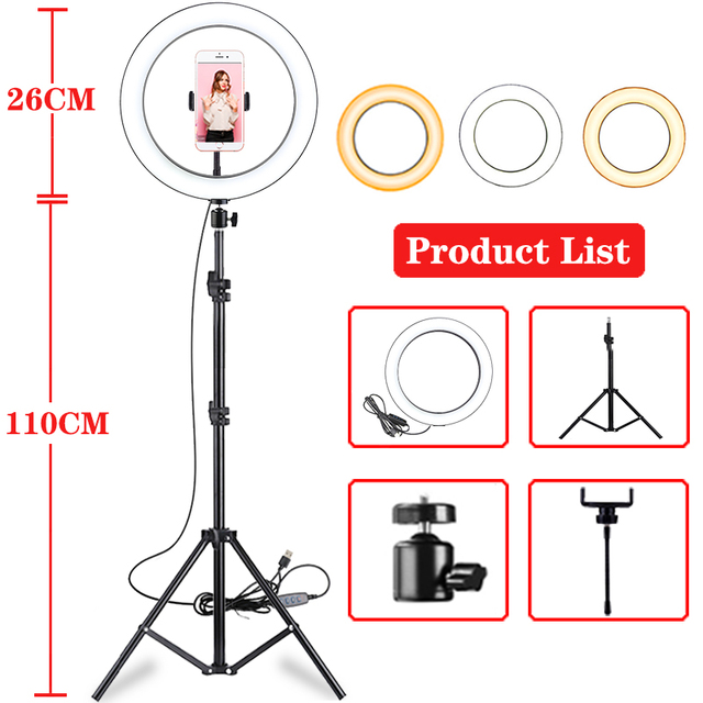Anillo de luz Led de 10 pulgadas para fotografía en vivo, lámpara de luz de anillo, luz de altura con trípode de 110CM para estudio fotográfico de Youtube