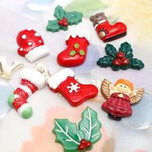 20Pcs Resin Christmas Leaf&Stocking Patch Decoration Crafts Flatback Cabochon Embellishments For Scrapbooking Diy Accessories недорого