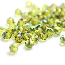Isywaka, дизайн, зеленый цвет, 3*4 мм, 145 шт, Rondelle, австрийские граненые Хрустальные стеклянные бусины, Свободные Круглые бусины для изготовления ювелирных изделий