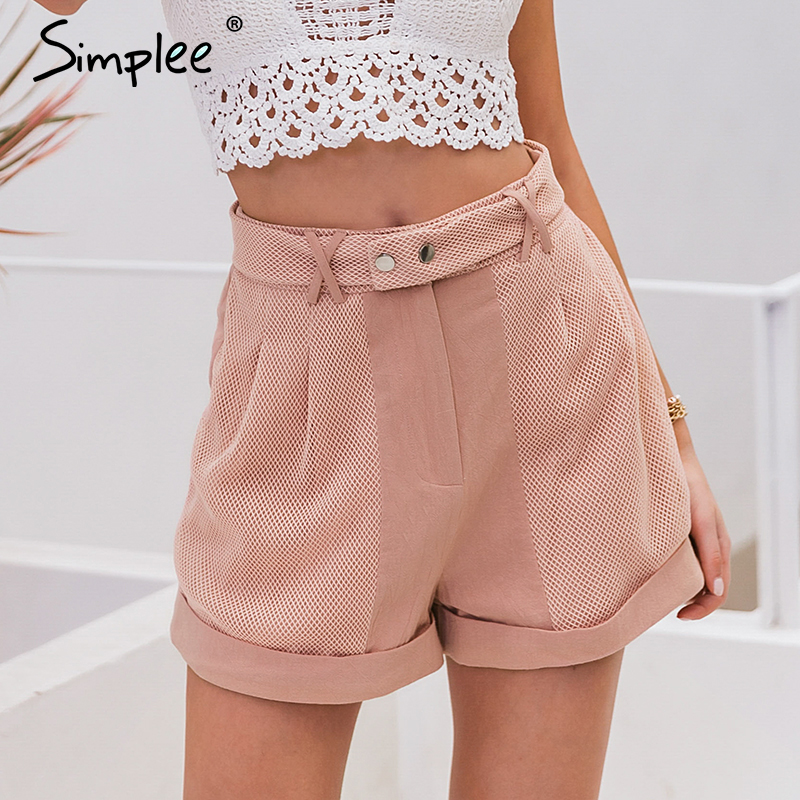 Simplee Sexy Women Pink Casual Shorts Hollow Out Spring Summer Shorts Vintage Party Fashion Holiday Ladies Bottom Shorts 2020