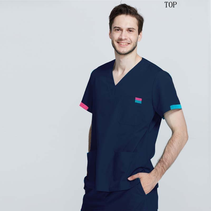 Men Medical Uniforms Pure Cotton Short Sleeve Top Doctor Nurse Clothing Classic V-neck Shirt Color Blocking Design(just A Top)