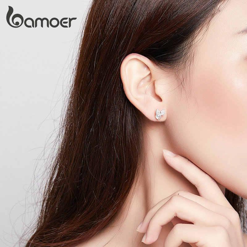 bamoer Sparkling Bowknot Clear CZ Wedding Earrings for Women Genuine 925 Sterling Silver Ear Studs Female 2019 Jewelry BSE280