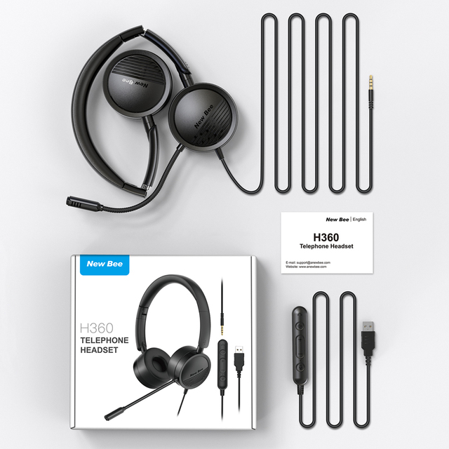 New Bee USB Headset with Microphone for PC 3.5mm Business Headsets with Mic Mute Noise Cancelling for Call Center Headphones 6