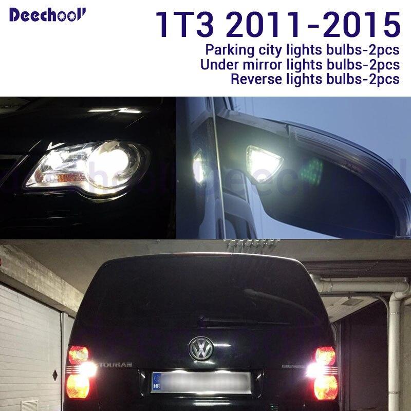 Canbus LED Reverse Backup Lamp+puddle+ License Plate LightS+ External Light Bulb Kit For VW  For Touran 1T1 1T2 1T3 2003-2015