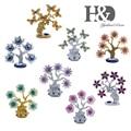 H & D синее дерево со сглаза, смоляное украшение для денег, украшение на дерево удачи, подарок на удачу, Сова, Бабочка, цветочное украшение в ви...