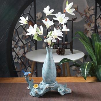 Home ceramic vase creative vase new Chinese style decoration ornaments handmade pottery light luxury decoration