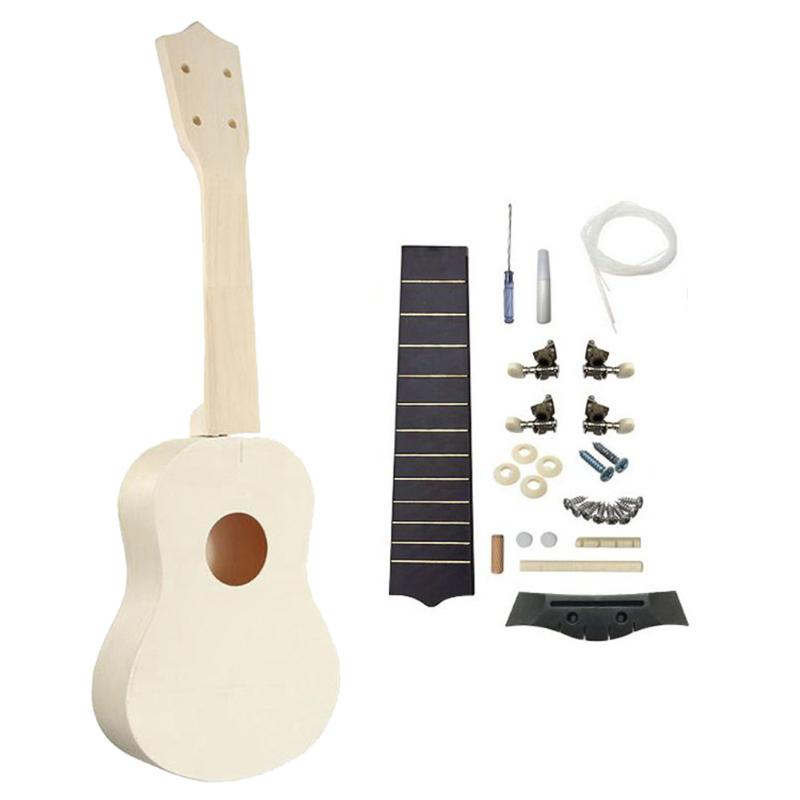 Ukulele DIY Kit 21 Inch Handmade Hawaii Mini Guitar Kids Children Assembly Toy Gifts Musical Stringed Instruments Accessory