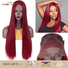 I's a wig Synthetic Lace Front Wig Long Straight Red Lace
