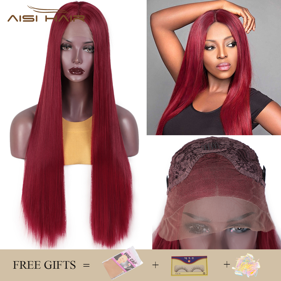 I's A Wig Synthetic Lace Front Wig Long Straight Red Lace Wigs For Women 613/60 Blonde Black Middle Part Nature Hair