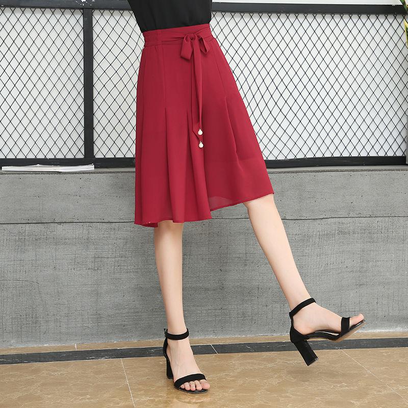 Oversize 5XL Summer Women's Pleated Chiffon Shorts Skirts Office Style Loose Casual Wide Leg Knee Length Short Drawstring Shorts