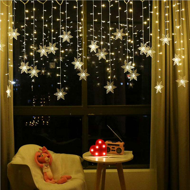 96 LED Snowflake Fairy String Curtain Window Lights Twinkle Christmas Xmas Decor
