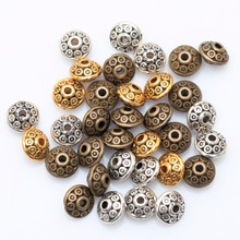100Pcs Tibetan Silver Metal Oval UFO Beads Spacer Beads for Jewelry Making DIY Charm Bracelet 6.5mmx4mm