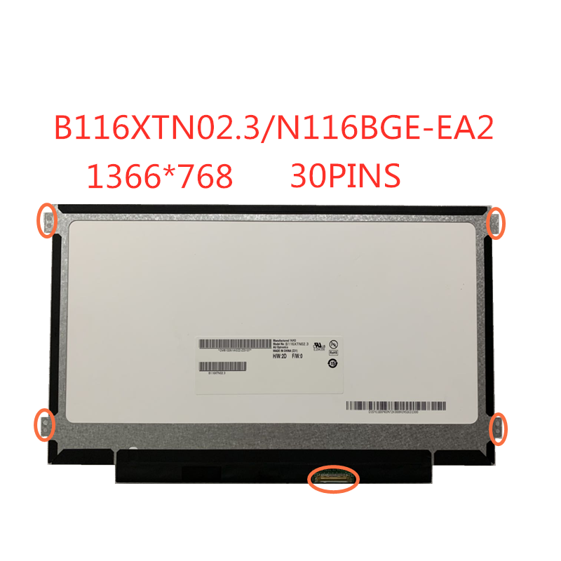 Free Shippi 11.6-inch SLIM  LCD Screen Panel 30pins EDP  B116XTN02.3 NT116WHM-N23 N116BGE-EB2 N116BGE-EA2 M116NWR1 R7 1366*768