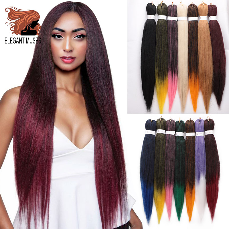 ELEGANT MUSES 8 Pcs 26inch Easy Jumbo Braids Hair Ombre Braiding Hair Synthetic Crochet Hair Extension Low Temperature Fiber