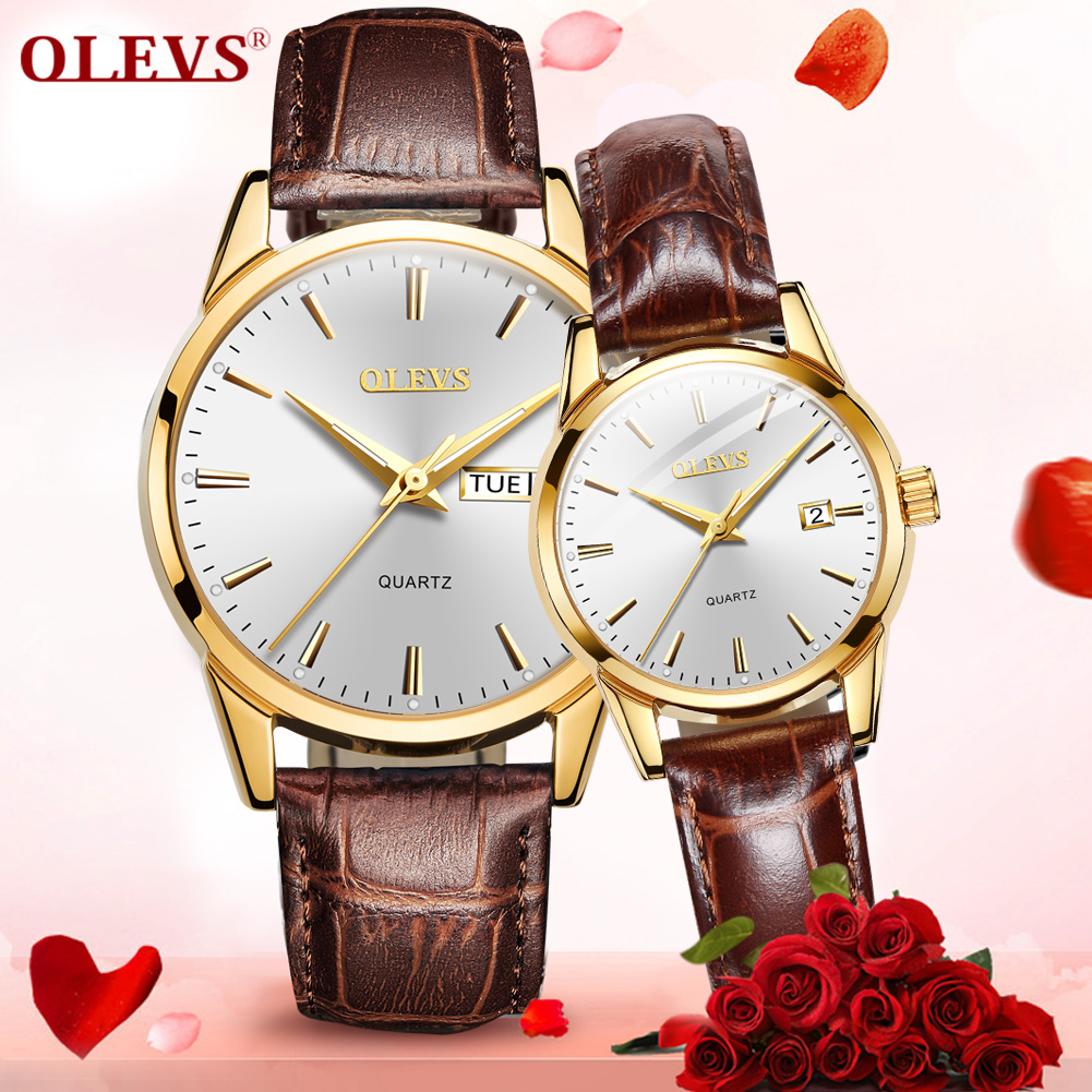 Fashion Couple Lovers Watches Quartz Ultra-Thin Waterproof Leather Calendar Date Weekday Casual Men Wristwatch Women Clock Hours