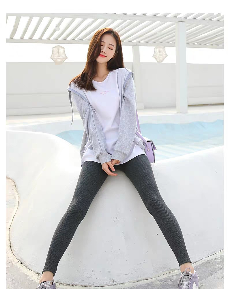 Gray Leggings Female Thin Section Wear 2020 Spring And Autumn New Cotton High Waist Vertical Stripes