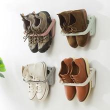 цена на Creative Wall Mounted Foldable Shoes Rack Plastic Shoe Shelf Stand Cabinet Display Shelf Organizer Wall Shoes Storage Rack