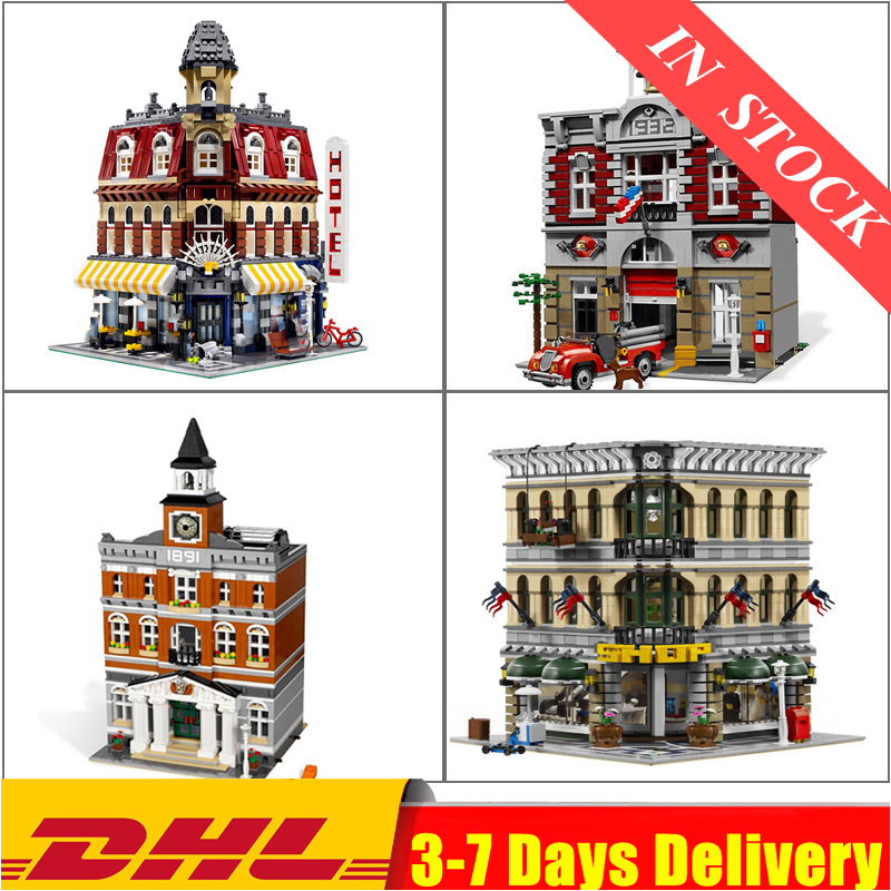 15005 15004 15003 15002 Town Hall Fire Brigade Cafe Corner Building Blocks Bricks Toys Compatible 10182 10224 10197 10211