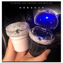 Car Ashtray LED Luminous Multifunctional Cute Creative Personality Universal Diamond Car Interior Decoration Car Accessories