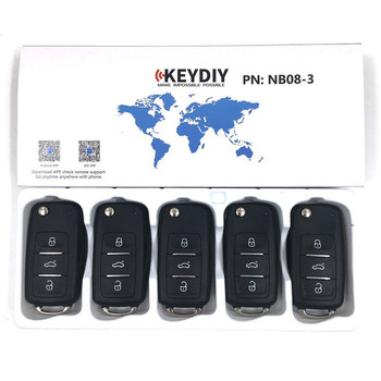 RIOOAK 5 uds KEYDIY KD NB08 Control remoto 3 botones Universal multifuncional para Keydiy KD900 URG200 KD200 KD-X2