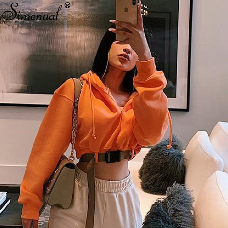 Simenual Autumn Winter Women Hoodies Casual Fashion 2019 Sash Buckle Crop Top Long Sleeve Zipper Solid Basic Hooded Sweatshirts
