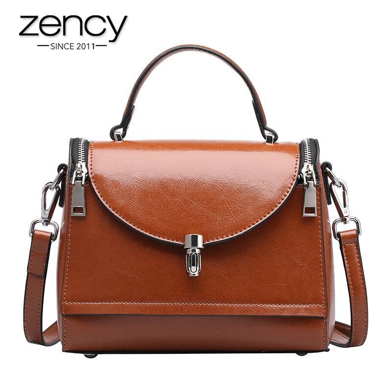 Zency 100% Genuine Leather Fashion Women Tote Handbag Retro Brown Lady Shoulder Crossbody Bag High Quality Daily Casual Bags