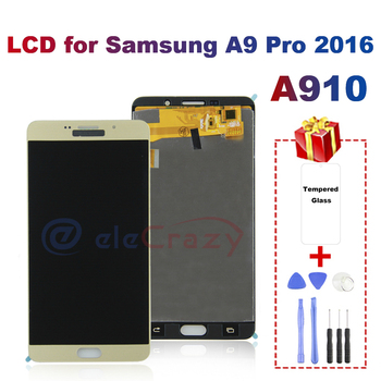 For Samsung Galaxy A9 Pro 2016 LCD Display TFT LCD+Touch Screen Digitizer Replacement For A910 LCD Display AAA 100% tested new tested lcd display matrix for 7 oysters t7x 3g tablet 1024 600 tft lcd screen panel lens frame replacement free shipping