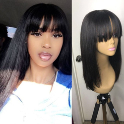 Human Hair Wigs Bob Wig Short Human Hair Wig With Bangs For Black Women Natural Color Straight Brazilian Bang Wig Ms Love