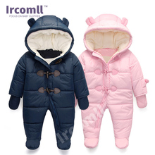 Keep warm Infant Winter clothes Newborn Baby Boy Girl Romper Jumpsuit Hooded  Kid Outerwear For 0-18M недорого