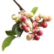1PC Christmas Berry Beans Branch Artificial Flower Home Decoration Green Red Fake Plant PE Foam Bean sticks 4 colors
